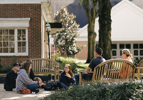 Undergraduate students enjoy some time outside
